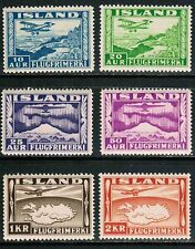 Iceland Air Mail 1934 Sc#C15-20, Plane over Thingvalla Lake MNH**cp9