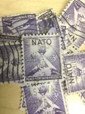 100 USED STAMPS #1008 NORTH ATLANTIC TREATY ORG (NATO)