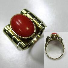 310 - Attraktiver Ring um 1960 aus Gold 585 mit Koralle -1071-