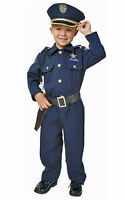 BOYS KIDS CHILDRENS DELUXE POLICE OFFICER UNIFORM OUTFIT COSTUME & CAP AGE 4-14