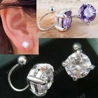 U CLIP ON studs 8mm CUBIC ZIRCONIA EARRINGS purple CZ silver plated crystal stud