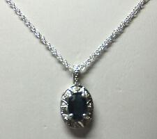 NUEVO Plata de Ley Original Zafiro & Diamante Colgante con 45.7cm CADENA