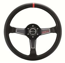 SPARCO L575 MONZA BLACK RED LEATHER STEERING WHEEL 350MM DIAMETER DISH CONCAVE
