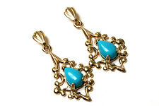 9ct Gold Ornate Turquoise Drop dangly Earrings Made in UK Gift Boxed
