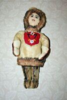 "Vintage 13"" Tall Hand Made Fur & Beaded Inuit Eskimo Style Alaska Souvenir Doll"
