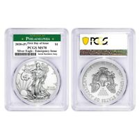Lot of 2-2020 (P) 1 oz Silver Eagle PCGS MS 70 FDOI Philadelphia Emergency Issue