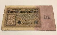 Rare German Banknote. 5 Billion Mark. Dated 1923. Reichsbanknote. Pick 115.