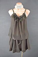 Miss Sixty Tunic Dress L Brown Drop Waist Spaghetti Strap Summer Casual 1017