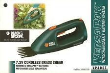 Black+Decker Versapak Cordless Tool: VP400T Grass Shears