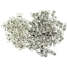 30 Sets Hook End Caps Leather Cord Tibetan Silver Crimp Bead Crafting Tool