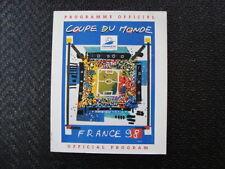 France Football World Cup Tournament Fixture Programmes