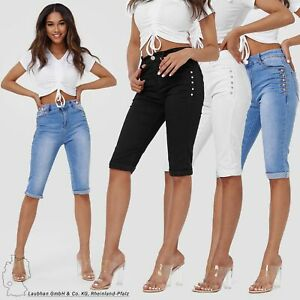 Damen Capri High Waist Jeans Shorts Kurze Skinny Denim Hosen Big Size Pants