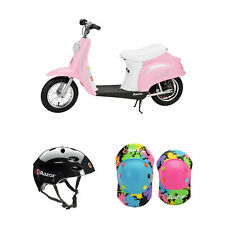 Razor Pocket Mod Electric Retro Scooter + Youth Sport Helmet + Elbow & Knee Pads