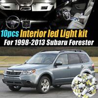 10Pc Super White Car Interior LED Light Bulb Kit for 1998-2013 Subaru Forester