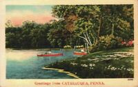 Greetings From Catasauqua Canoe Boats Lehigh County Allentown PA Linen Postcard