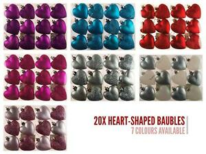 Christmas Tree Heart Baubles Hanging Decorations (Set of 12)