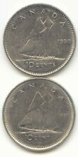 Canada 1980 and 1981 Canadian Dimes Ten Cents 10c *EXACT* COIN SHOWN