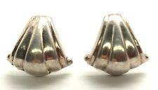 Vintage Oxidized Sterling Silver Shell Style Groove - Curved Latch Back Earrings