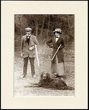 FLAT COATED RETRIEVER AND LADY AND MAN SHOOTING DOG PHOTO PRINT READY MOUNTED