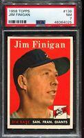 1958 Topps Baseball #136 JIM FINIGAN San Francisco Giants PSA 7 NM