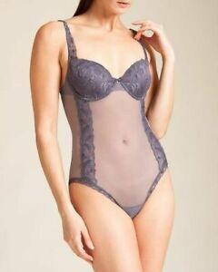 LA PERLA Ballade Collection, Sheer Luce Tulle Bodysuit, Gray, 36B & 38B