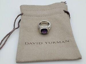 David Yurman Sterling Silver Albion Ring 11mm Amethyst and Diamonds Size 7