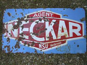 Ancien grande plaque émaillée AGENT NECKAR NSU voiture auto Garage 110 X 60 cm