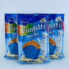 3 Pillsbury Funfetti Aqua Blue Cupcake & Cake Mix Party Makes 36 Cupcakes Total