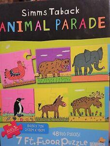 Simms Taback Animal Parade Floor Puzzle 48 Big Pieces! 84inx7in,
