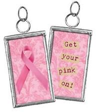 Two-Sided Glass Framed Get Your Pink On Breast Cancer Awareness Charm