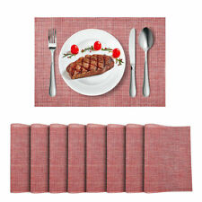 Placemats Heat-Resistant Anti-Skid PVC Table Mats Woven Vinyl Placemats Set of 8