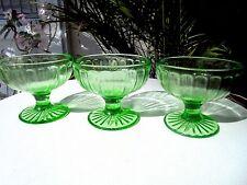 Set of 3 Vaseline Glass Green Sherbet Ribbon Pattern c 1930's Hazel Atlas