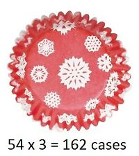 Culpitt 162 x SNOWFLAKE-RED 50mm Standard Cupcake Cup Cake Muffin Baking Cases