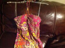2 NEW Energie Halter Paisley Flora Print Maxi  Women's Sun Dresses Size  M .