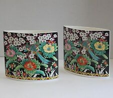 Set Of Two Mikasa Kutani Bird Narumi Bone China Tear Drop Vases A7605