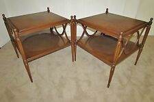 VINTAGE TWO TIER END TABLES, BURLED WALNUT, BAKER QUALITY TABLE PAIR