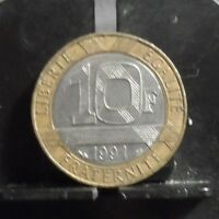 CIRCULATED 1991 10 FRANCS FRENCH COIN(122418).....FREE DOMESTIC SHIPPING!!!!