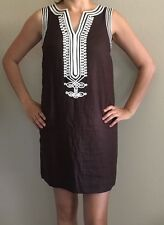 MICHAEL KORS sz 6 Brown Linen lined sheath shift dress w white tunic embroidery