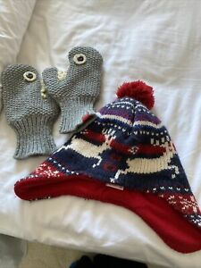 Boys Winter Bobble Hat And Gloves Blue M/l And Joules Mits