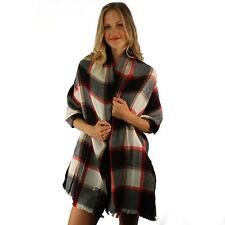 Winter Warm Big Large Blanket Ultra Soft English Plaid Scarf Wrap Shawl Black