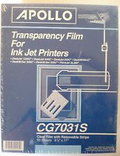 APOLLO Transparency Film For Ink Jet Printers 50 Sheets CG7031S New in Package