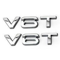 2PCS Auto Aufkleber V6T Emblem Karosserie 3D Metall Abziehbilder für Audi