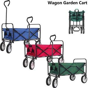 Foldable Pull Along Wagon Garden Trailer Hand Cart Utility Transport Trolley