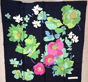 Vintage Christian Dior Fine Silk Scarf With Vibrant Impressionist Flower Design