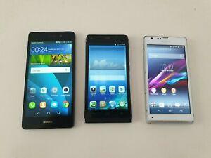 Lot de 3 Smartphones: 2 Huawei P8 lite et Sony Xperia SP bien fonctionnels