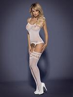 Obsessive F214 Netz Catsuit 34-40 Body Stocking Nylons Weiß S-L Schritt offen