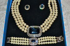 "New $330 HEIDI DAUS ""Tailored to Please"" 3 Piece Set Necklace Crystal Pearl Clip"