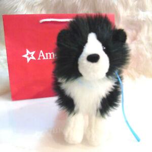 American Girl Doll SAIGE DOG REMBRANDT Black White Border Collie Plush Leash BAG