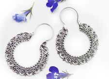 Filigree Bali Hoop earrings,solid 925 Sterling Silver, Boho, Bohemian, Oriental