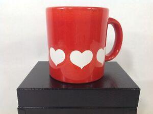 Hearts White on Red Ceramic Coffee Tea Mug Cup Love Waechtersbach Valentines Day